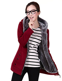 Women's Casual/Daily Simple Hoodie Jacket Solid Inelastic Polyester Spandex Long Sleeve Winter