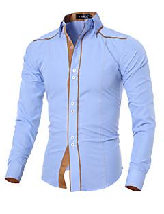 Bomull Polyester Langermet Skjorte Ensfarget Fritid/hverdag Herre