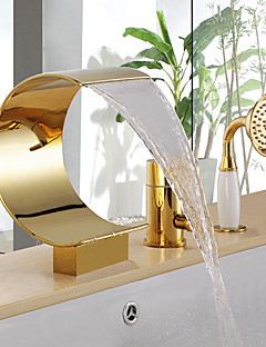 tanie Wodospad-Bateria Wannowa - Wodospad Zawiera prysznic ręczny Ti-PVD Wanna i prysznic Pojedynczy Uchwyt Trzy Otwory