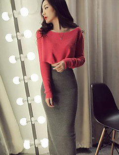 Women's Going out Casual/Daily Work Simple Cute Street chic Spring Fall T-shirt Skirt Suits,Solid Round Neck Long Sleeve Stretchy