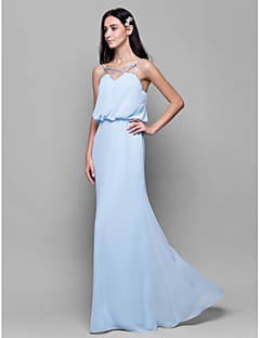 cheap Imperial Blue-Sheath / Column Spaghetti Straps Floor Length Chiffon Bridesmaid Dress with Beading Pleats by LAN TING BRIDE®