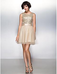 billige Paljettkjoler-A-linje Kort / mini Tyll Paljetter Cocktailfest Skoleball Kjole med Paljetter av TS Couture®