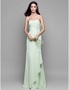 Sheath / Column Strapless Floor Length Chiffon Bridesmaid Dress with Crystal Detailing Cascading Ruffles by LAN TING BRIDE®