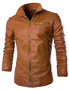 billige Herremote og klær-menns street chic våren høst pu jakke / frakk, solid langermet pu stand krage