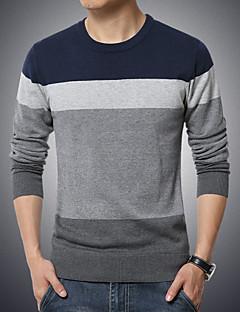tanie Męskie swetry i swetry rozpinane-Męskie Puszysta Weekend Okrągły dekolt Pulower Kolorowy blok Długi rękaw