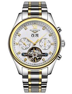 お買い得  有名ブランド腕時計-GUANQIN 男性 リストウォッチ カレンダー 耐水 透かし加工 自動巻き ステンレス バンド シルバー