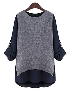 billige Plusstørrelser-Dame - Farveblok Patchwork Delt Plusstørrelser Bluse