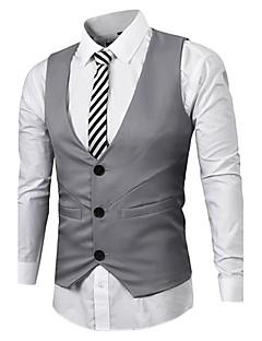 男性用 プレイン カジュアル / オフィス / フォーマル タンクトップ,長袖 コットン,ブラック / ホワイト / グレー