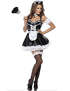 Stuepike Kostumer Cosplay Kostumer Party-kostyme Kvinnelig Halloween Karneval Festival/høytid Halloween-kostymer Svart/Hvit Lapper