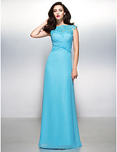 Sheath / Column Bateau Neck Floor Length Chiffon Lace Formal Evening Dress with Appliques Lace Criss Cross by TS Couture®