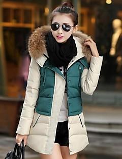 Manteau Rembourré Femme,Long Grandes Tailles Couleur Pleine-Polyester Polyester Manches Longues Bleu Rouge Vert Capuche