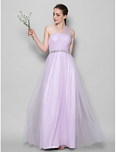 cheap Long Bridesmaid Dresses-A-Line One Shoulder Floor Length Tulle Bridesmaid Dress with Crystal Detailing Criss Cross by LAN TING BRIDE®