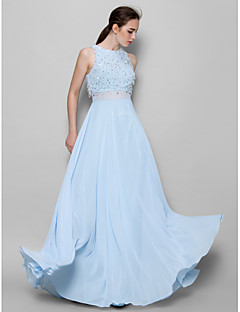 cheap Imperial Blue-A-Line Jewel Neck Floor Length Chiffon Bridesmaid Dress with Beading Sequin by LAN TING BRIDE®