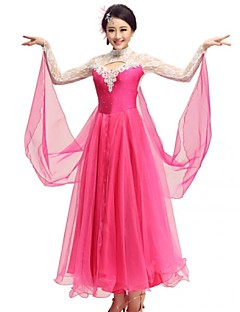 cheap New Arrivals-Ballroom Dance Dresses Women's Performance Polyester Spandex Lace Crystals / Rhinestones Dress