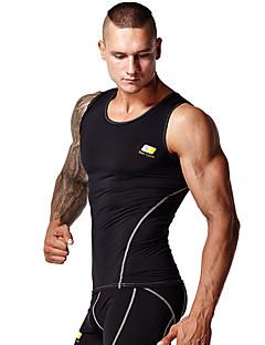 billige Løbetøj-Herre Sports-BH Tank Tops / Toppe - Sport Yoga, Pilates, Træning & Fitness Påførelig, Blød, Komprimering Hvid, Sort Ensfarvet, Mode