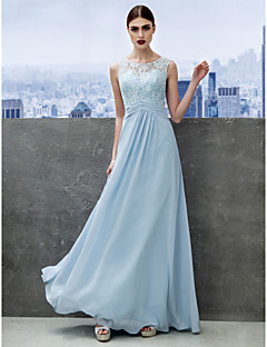 A-Line Scoop Neck Floor Length Chiffon Lace Prom Formal Evening Dress with Lace by TS Couture®