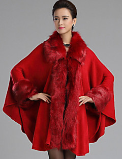 Women's Going out Simple Cloak/Capes Long Sleeve Winter Red Black Brown Wool Thick