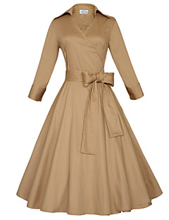 Χαμηλού Κόστους Βίντατζ Βασίλισσα-Γυναικεία Φόρεμα Μεγάλα Μεγέθη / Βίντατζ / Πάρτι / Εργασία / Καθημερινό Μεγάλα Μεγέθη Μονόχρωμο Μίντι Βαθύ V Βαμβάκι / Ελαστικό