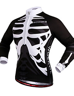 WOSAWE Cycling Jersey Unisex Bike Jersey Tops Windproof Reflective Strips Back Pocket 100% Polyester Skulls Camping / Hiking Exercise &