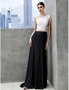 A-Line Bateau Neck Sweep / Brush Train Tulle Jersey Prom Formal Evening Black Tie Gala Dress with Pleats by TS Couture®