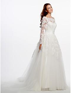 billiga A-linjeformade brudklänningar-A-linje Scoop Neck Hovsläp Spets / Tyll Bröllopsklänningar tillverkade med Applikationsbroderi / Spets av LAN TING BRIDE® / Genomskinliga