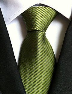 Men's Polyester Neck Tie,Vintage Cute Party Work Casual Striped All Seasons Green
