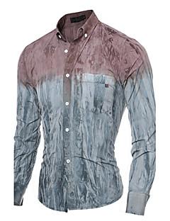 billige Herremote og klær-Bomull Skjorte Herre - Fargeblokk, Trykt mønster