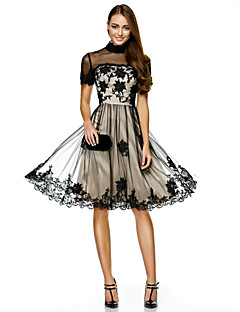 A-Line High Neck Knee Length Tulle Cocktail Party Homecoming Prom Company Party Dress with Appliques Lace by TS Couture®