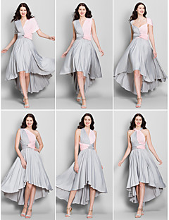 tanie Sukienki trasformer-Krój A Wcięcie V Asymetryczna Dżersej Sukienka dla druhny z Krzyżowe przez LAN TING BRIDE®