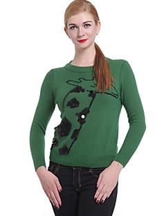 baratos Suéteres de Mulher-Mulheres Chique & Moderno Estampado Fofo, Estampado Animal Estampado