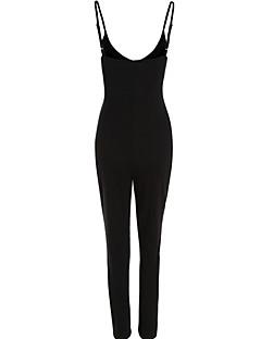 billige Jumpsuits og sparkebukser til damer-Dame Klubb Med stropper Svart Grå Kjeledresser, Ensfarget Åpen rygg M L XL Ermeløs Sommer
