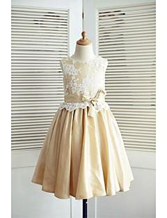 a-line knie lengte bloem meisje jurk - kant taffeta mouwloze scoop nek met lint door thstylee