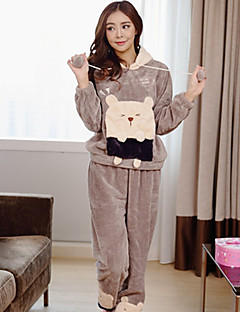 Women's Fashion Flannel Pajama ,Thick,Hooded,Cute Cartoon printing