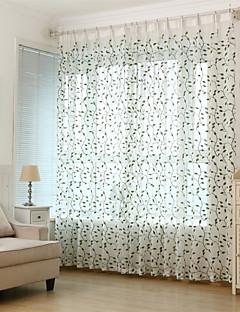 baratos Coleções de Janela-Sheer Curtains Shades Sala de Estar Folha Poliéster Bordado