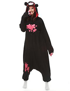 着ぐるみパジャマ ベア アライグマ グロミークマ 着ぐるみ パジャマ コスチューム フリース ブラック コスプレ ために 成人 動物パジャマ 漫画 ハロウィン イベント/ホリデー