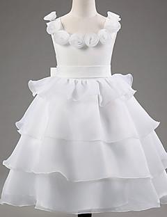 姫の床の長さフラワーガールのドレス - レースポリスターノースリーブスクープネックフラワー