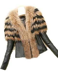 Χαμηλού Κόστους -Γυναικεία Γούνινο παλτό Κομψό στυλ street - Συμπαγές Χρώμα, Blană Curată Ψεύτικη Γούνα