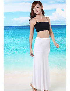 Women's Solid Black/White/Blue Swimsuits Cover-Up,Casual Strapless