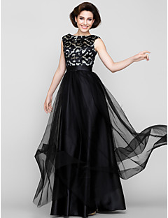 cheap Mother of the Bride Dresses-A-Line Scoop Neck Floor Length Tulle Mother of the Bride Dress with Pattern / Print by LAN TING BRIDE®