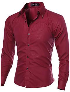billige Herremote og klær-Bomull Tynn Spredt krage Store størrelser Skjorte Herre - Ensfarget, Grunnleggende Arbeid / Langermet