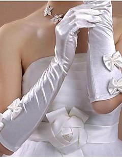 お買い得  サテン-サテン コットン 手首丈 肘丈 チャーム スタイリッシュ ブライダル手袋 刺繍 ソリッド - グローブ