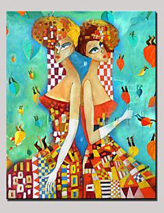tanie Portrety abstrakcyjne-Ręcznie malowane Ludzie Pionowy, Nowoczesny Brezentowy Hang-Malowane obraz olejny Dekoracja domowa Jeden panel