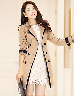 Women's Daily Simple Casual Spring Fall Trench coat,Solid Notch Lapel Long Sleeve Regular Polyester Classic Style
