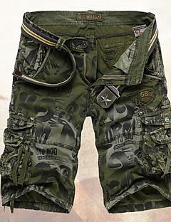 billige Herrebukser og -shorts-Herre Militær Bomull Jeans / Shorts Bukser Trykt mønster Grønn / Helg