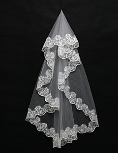 One Tier Lace Applique Edge Wedding Veil Blusher Veils Shoulder Elbow Fingertip