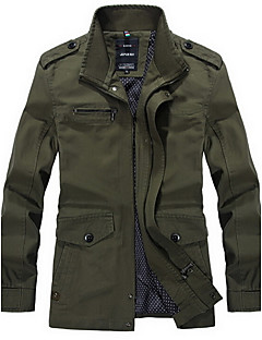 billige Herremote og klær-Skjortekrage Tynn Trenchcoat - Ensfarget Militær Arbeid Herre