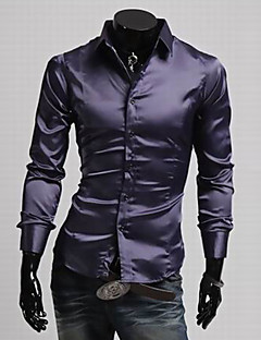Yoonheel Men's Long Sleeve Shirt,Silk / Polyester Casual / Work / Formal Solid