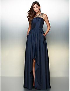 preiswerte Kleider für besondere Anlässe-A-Linie Illusionsausschnitt Asymmetrisch Taft Abiball / Formeller Abend Kleid mit Kristall Verzierung durch TS Couture®