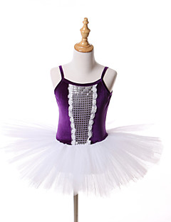 Ballet Tutuer & Nederdele Kjoler Tutus Børne Ydeevne Træning Tyl Fløjl 1 Stykke Ærmeløs Jul Halloween Prinsesse Kjole