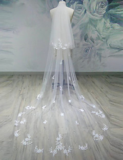 Two-tier Cut Edge Wedding Veil Chapel Veils Cathedral Veils With Applique Tulle